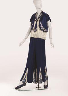 Nautical inspired lounge pajamas, 1930's, silk with silk thread embroidery.  Phoenix Art Museum.
