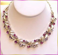 Coro Jewelry Vintage Necklace Brushed Silver w Fuchsia and Lavender Rhinestones. $65.00