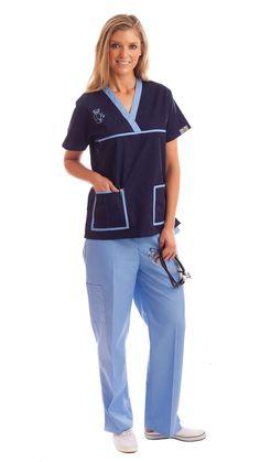 Women's Contrast Teddy Bear Embroidery Medical Scrubs