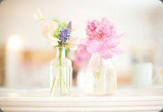 Lavender and pink, single-stem bottle vases