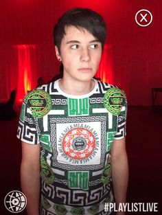 """""""And this week on 'Wtf is Dan wearing' we being you a party sort of Dan, for you can never have enough green. Even if green is not a creative colour. """"<<< I don't know what to sau Phil 3, Dan And Phil, Yeezus Shirt, Jessie Paege, Danisnotonfire And Amazingphil, Sam And Colby, Tyler Oakley, Phil Lester, Creative Colour"""