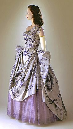 Adrian Original Taffeta and Organza Gown, 1951 Purple Dress Hollywood Fashion, 1950s Fashion, Vintage Fashion, Timeless Fashion, Vintage Style, Vintage Gowns, Vintage Outfits, Vintage Clothing, Vintage Couture