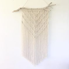 "15"" X 34"" macrame wall hanging made using driftwood and my favourite 3-ply rope from my favourite @ropeshopdotca . I'll be bringing this and more to #martimemakers #etsymadeincanada on Sept 23rd at Pier23 #halifax #novascotia #macramemaker #modernmacrame #knotstiedwithrf"