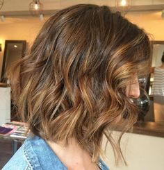 tousled wavy long bob with highlights