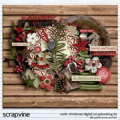 Rustic Christmas Digital Scrapbooking Kit | ScrapVine