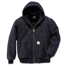 Carhartt Men's Quilted Flannel Lined Sandstone Active Jacket J130,Black,Large
