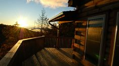 Tryon Sunset Log Home designed by Blue Ridge Log Cabins for High Rock Rentals in Black Mountain, N.C. #logcabin #loghome #cabins #sunsets #mountainsunsets