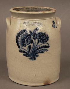 Vintage Antique Cobalt Decorated Stoneware 2 Gallon Crock John Burger Rochester   eBay