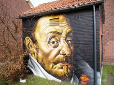 Willem de Zwijger painting at electricity substation at the Willem de Zwijgerlaan in Leiden, Netherlands