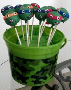 Ninja Turtles cake pops next project Turtle Birthday Parties, Ninja Turtle Birthday, Ninja Turtle Party, Birthday Bash, Ninja Turtles, Birthday Ideas, Ninja Turtle Cake Pops, Turtle Dessert, Cupcake Cakes
