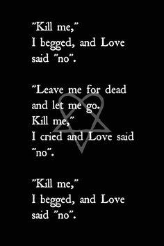 "Ville Valo lyrics for And Love Said ""No""."