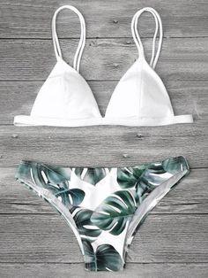 Green Leaf Printed Bikini Set