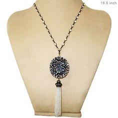 Diamond Sterling Silver Moonstone Tassel Pendant Necklace 14K Gold Jewelry BY #raj_jewels
