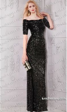 Elegent Off the shoulder   3/4 sleeves floor length sequin dress.prom dresses,formal dresses,ball gown,homecoming dresses,party dress,evening dresses,sequin dresses,cocktail dresses,graduation dresses,formal gowns,prom gown,evening gown.