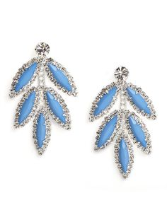 These stunning earrings manage to be both delicate and oh-so-bold. Were especially in love with the way those marquise gems come surrounded by even more dazzling crystal finery. Leaf Jewelry, I Love Jewelry, Hair Jewelry, Women Jewelry, Jewelry Box, Blue Earrings, Dangle Earrings, Diamond Earrings, Fashion Necklace