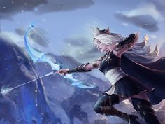 Ashe the Frost Archer by UKIori on DeviantArt Ashe League Of Legends, League Of Legends Characters, Archer Characters, Fantasy Characters, Fantasy Character Design, Character Art, Anime Friendship, Fantasy Art Women, Anime Warrior