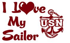 US  NAVY I LOVE MY SAILOR VINYL DECAL STICKER NAVY MOM WIFE GIRLFRIEND CAR AUTO #bmecountdown