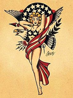 Sailor Jerry American Eagle Pin-up. Im dying for a pin up! Patriotische Tattoos, Pin Up Tattoos, Trendy Tattoos, Girl Tattoos, Naval Tattoos, Tatoos, Flag Tattoos, Punk Tattoo, Classy Tattoos