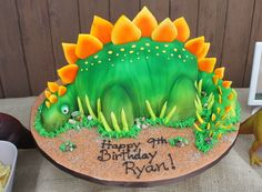 Stegosaurus Dinosaur cake - I made this cake for my sons birthday, I shared a video how in the tutorials. Dinosaur Cake Tutorial, Dinosaur Cake Pops, Dino Cake, My Son Birthday, Dinosaur Birthday Party, Birthday Cakes, October Birthday, Birthday Stuff, Birthday Photos