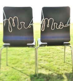 DIY Mr. and Mrs. rope letters using twine, Elmer's Glue, and cornstarch. Beautiful and simple decor for your wedding. #weddingdecor