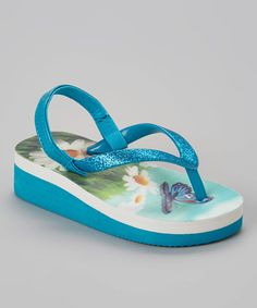 Love this Turquoise Butterfly Wedge Sandal - Kids on #zulily! #zulilyfinds