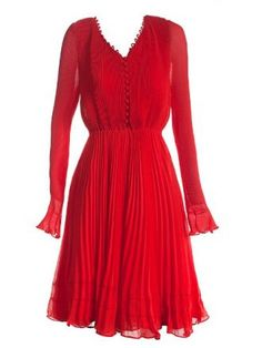 Red Flare Long Sleeve V-neck Pleated Belted Dress