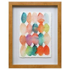 """Watercolor Beads is an eye catching yet simplistic piece that incorporates wonderfully into any room in the home. This 11""""x14"""" floating print is produced on real watercolor paper with a deckled edge, and wrapped in a mid-tone wood frame. It hangs perfectly on it's own or next to Watercolor Weave."""