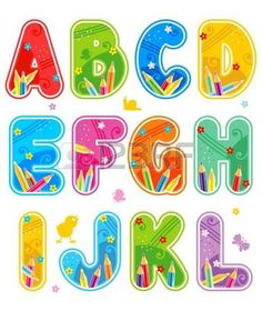 Colorful decorated spring, summer or school alphabet set, part 1 (of 3), letters A - L, with design elements