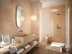 Love the use of timber and natural earth tones. Tiles by Fap Ceramiche