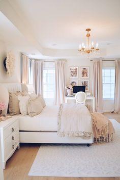 Master Bedroom Decor: a Cozy & Romantic Master Bedroom – The Pink Dream – Master Bedroom – einrichtungsideen wohnzimmer Dream Master Bedroom, Master Bedroom Design, Cozy Bedroom, Home Decor Bedroom, Bedroom Romantic, Modern Bedroom, Master Bedrooms, Feminine Bedroom, Bedroom Interiors