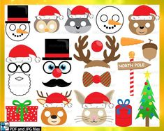 Your place to buy and sell all things handmade Party Booth, Party Props, Christmas Animals, Red Christmas, Holiday, Xmas, Animal Noses, Cute Canvas, Christmas Paper Crafts