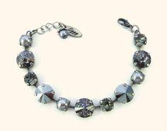 Shades of Gray 12/8mm Swarovski crystal bracelet by SiggyJewelry