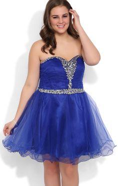 Plus Size Homecoming Dresses, Blue Dress