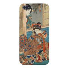 SOLD! - Classic vintage ukiyo-e two geishas Utagawa art Cover For iPhone 5 #classic #vintage #ukiyoe #geisha #iphone5 #case #cover #japanese #lady