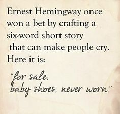 """Lost in the words I ponder ༻ ☕️ ༺ """"for sale: baby shoes, never worn."""" Wow! How sad is this?"""