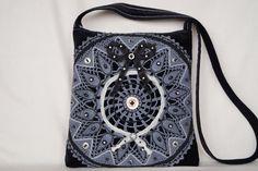 Grey black crocheted lace bag medium size bag by bokrisztina