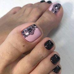 Pedicure Designs, Manicure E Pedicure, Toe Nail Designs, Black Pedicure, French Pedicure, Pedicure Ideas, Nails Design, Pretty Toe Nails, Cute Toe Nails