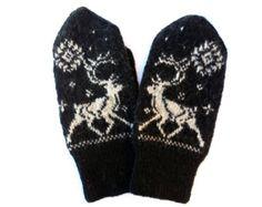 Unique hand knit Merino wool men's mittens