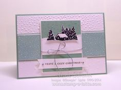Cozy Snow Scene ... cased from Siara Acdai using Cozy Christmas. Such a soft pretty card #stampinup #stampalatte #cozychristmas