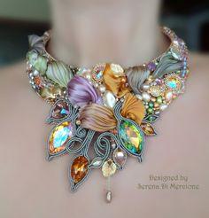 """""""Automne en Provence"""" Necklace by Serena Di Mercione --- beadembroidery, soutache, shibori silk, swarovski, pearls. by cheryl"""