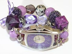 Shabby Chic Purple Haze Chunky Beaded Watch Purple by BeadsnTime, $30.00
