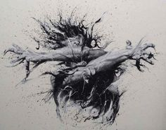 Italian artist Paolo Troilo doesn't use paint brushes to create these amazing and powerful artworks. Instead of paintbrush he dips his fingertips in black and white paint and guides them across the canvas.