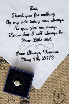 Gift for Father of the Bride Custom Embroidered Wedding Handkerchief on Etsy, $25.00