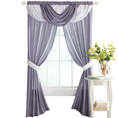 Elegant Patricia Rod Pocket Valance and 2 Panels with Tieback Window Curtain Set, Lilac * Want additional info? Click on the image. (This is an affiliate link) #WindowTreatments