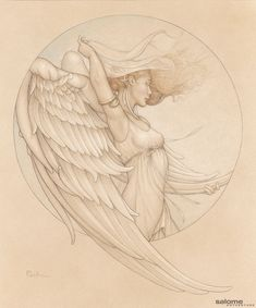 Michael Parkes - Fantasy Art & Magic Realism - Winds of change Angel Drawing, Wind Of Change, Ange Demon, Ligne Claire, Magic Realism, Park Art, Angels And Demons, Angel Art, Fantasy Art
