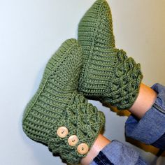 Crochet Crocodile Stitch Boots / Booties / Slippers - Adult Sizes  - Made to Order. $35.95, via Etsy.