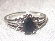 925 Sterling Silver Genuine Black Sapphire Ring Avon Vintage Size 8 #NVC #Cocktail