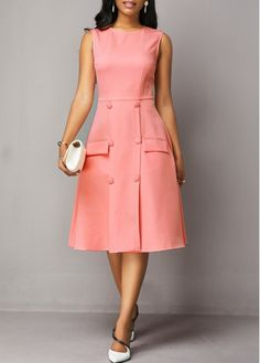 Cocktail Party Dress Sleeveless Button Detail High Waist Dress Source by rosewecom dresses cocktail Simple Dresses, Beautiful Dresses, Casual Dresses, Awesome Dresses, Dress Outfits, Fashion Outfits, Womens Fashion, Fashion Tips, Urban Fashion