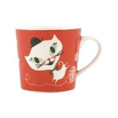 Small Porcelain Mug Cat Fun Red by Marmalade Store