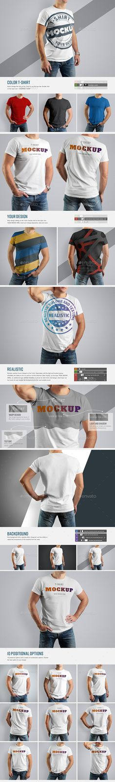 Buy 10 Mockup T-Shirt (Updated) by Oleg_Design on GraphicRiver. - Templates of mocup t-shirt on the body of an athletic man. - Design is easy in customizing images design, backgroun. Design Typography, Design Logo, Graphic Design, T Shirt Design Template, Free Photoshop, Shirt Mockup, Athletic Men, Colorful Backgrounds, Colorful Shirts